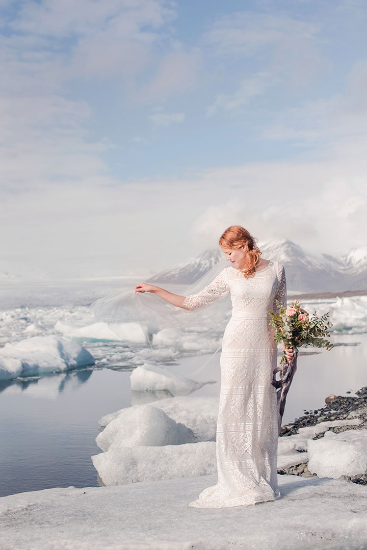 The Bride Wore Modest By Mon Cheri For Her Icelandic Elopement