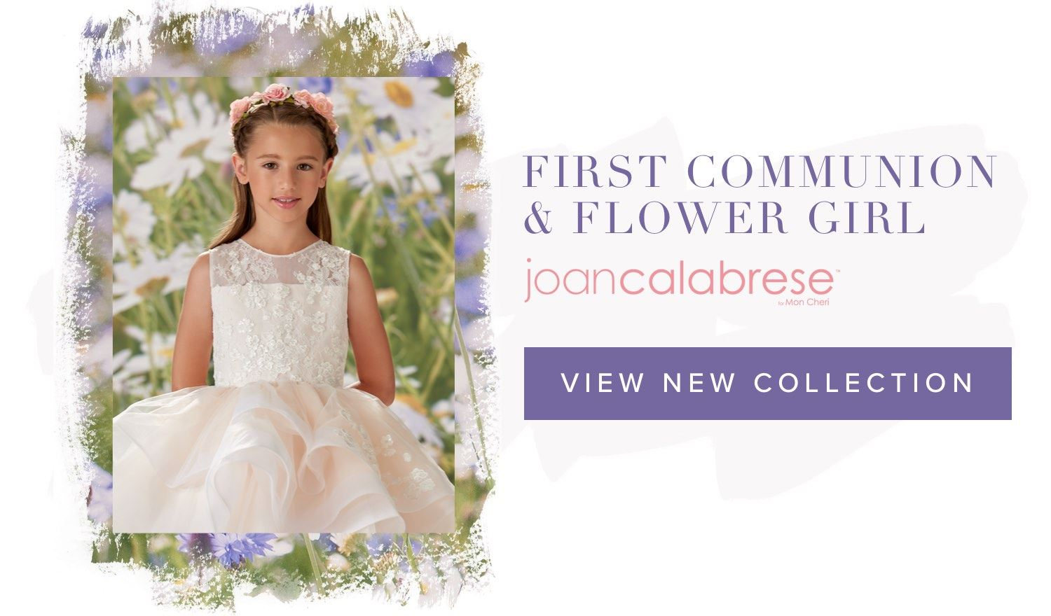 Little girl wearing flower girl dress by Joan Calabrese