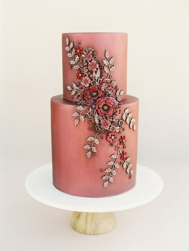 Vintage Style Floral Appliqués Adorn This Coppery Pink Wedding Cake