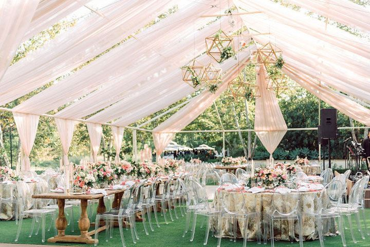 Contemporary Tented Wedding In Blush Palette Accented With Metallics
