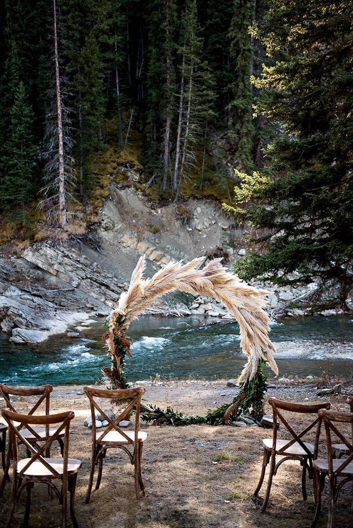 Pampas Grass Circular Ceremony Arbor Frames The Rocky Mountain River