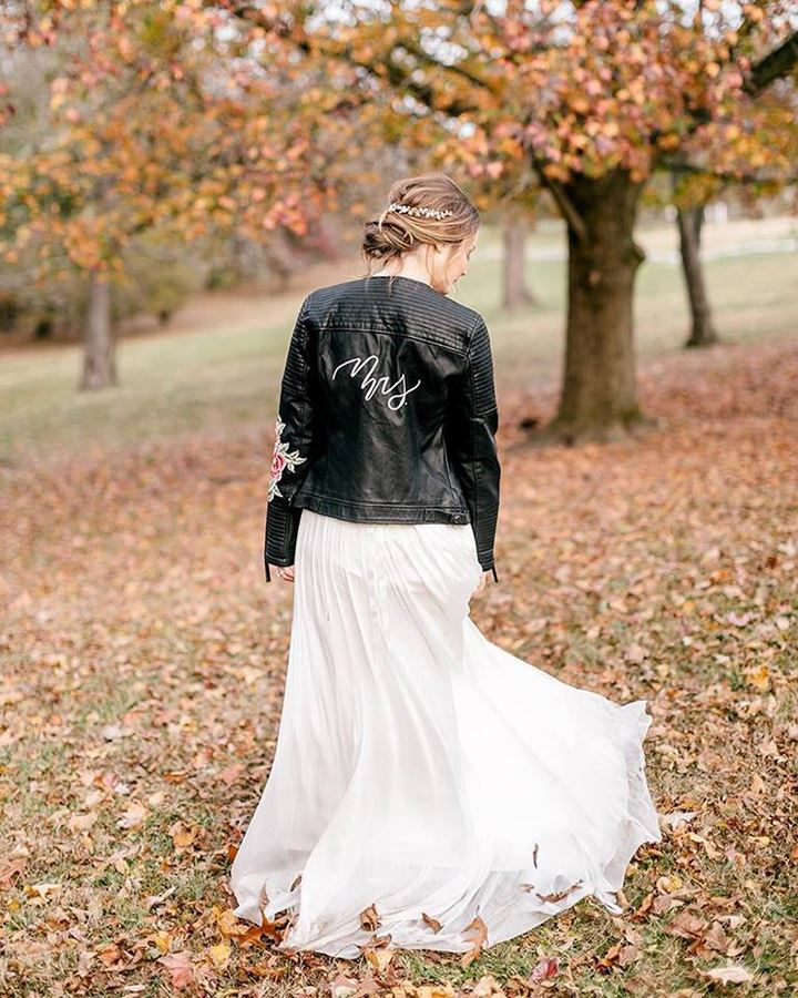 Welcome Autumn In A Hand-Painted Jacket For The Bride